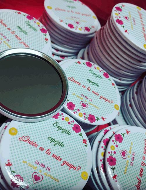 Chapas personalizadas de 59 o 75 mm con espejo